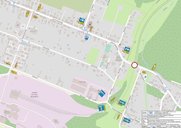 Mapa przedstawiająca drogę objazdową