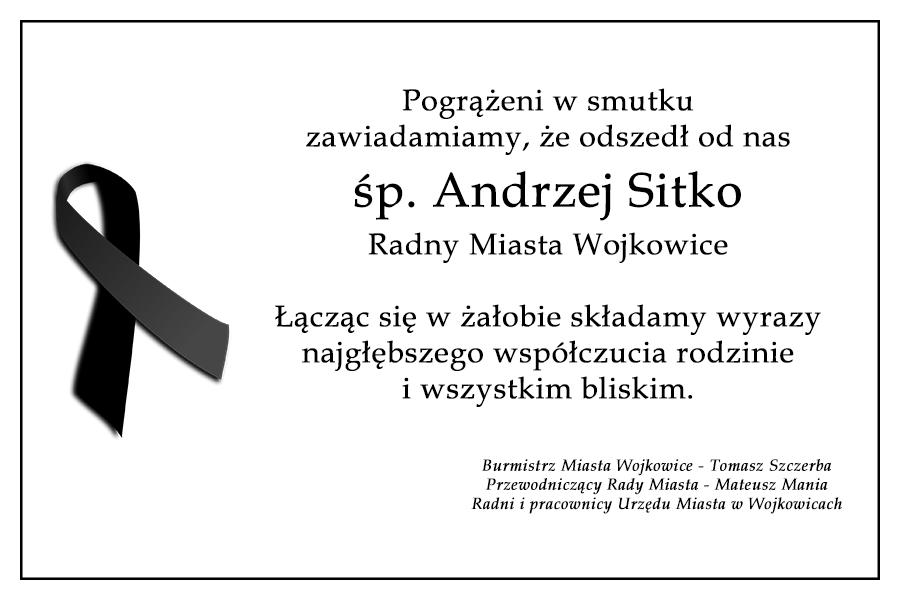 Kondolencje z powodu śmierci Andrzeja Sitki